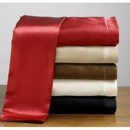 King Size Silk Feel Satin Pillowcase+Fitted+Flat Bed Sheet S