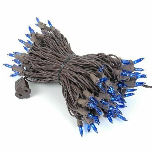 Novelty Lights 100 Blue Mini Set, Brown Long
