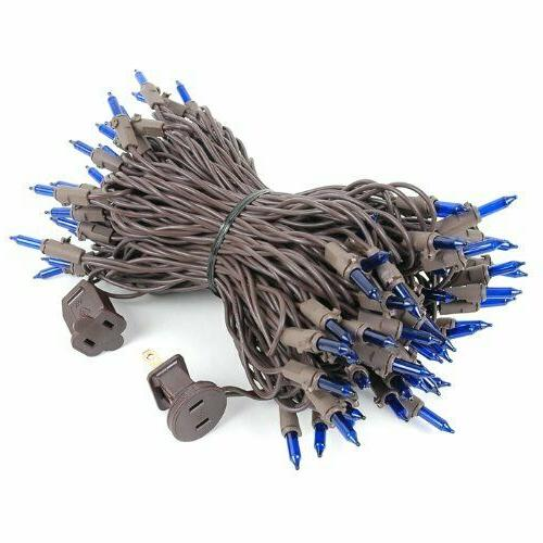 Novelty Lights 100 Blue Christmas Set, Brown 50' Long