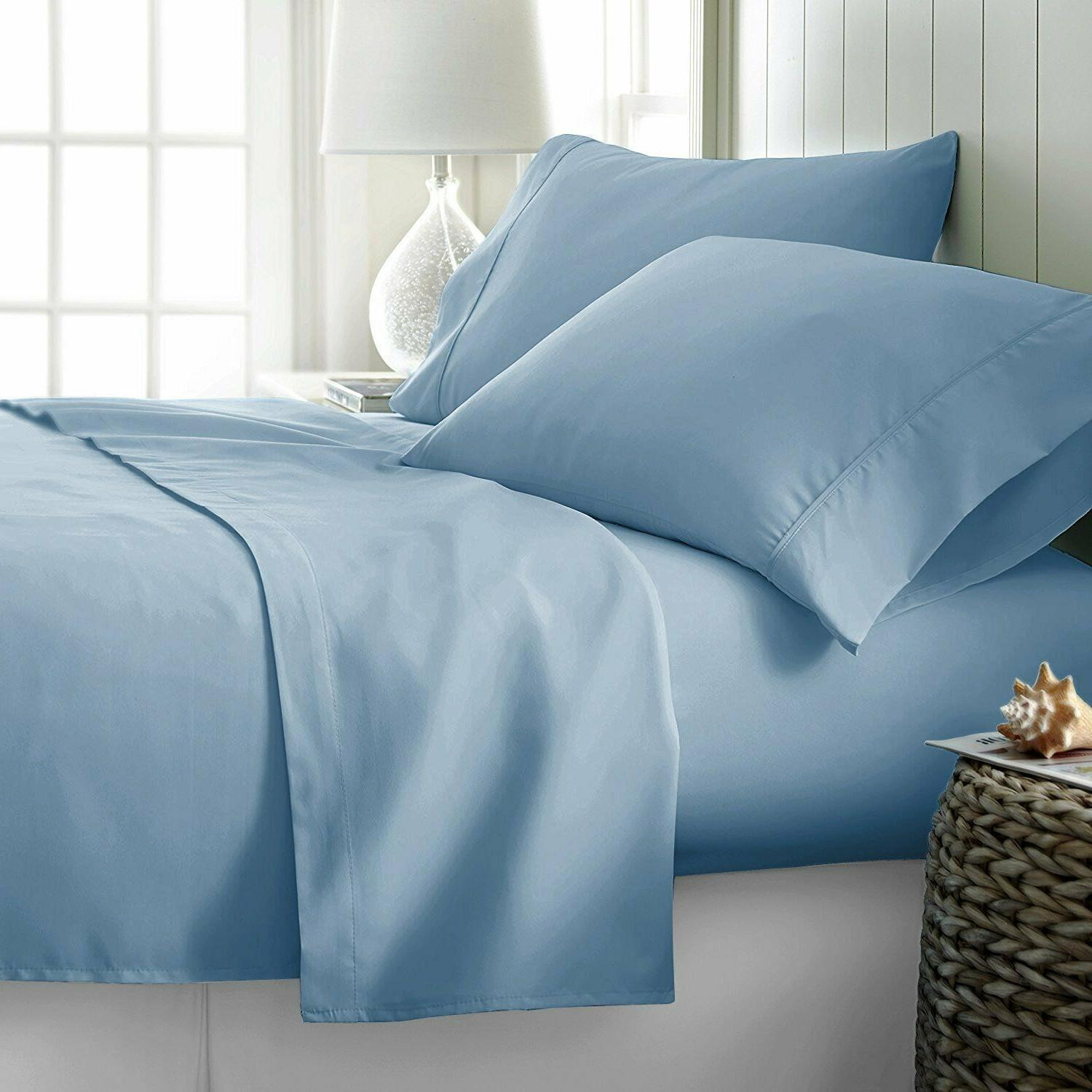 100% Piece Bed Sheets - 600 Blue