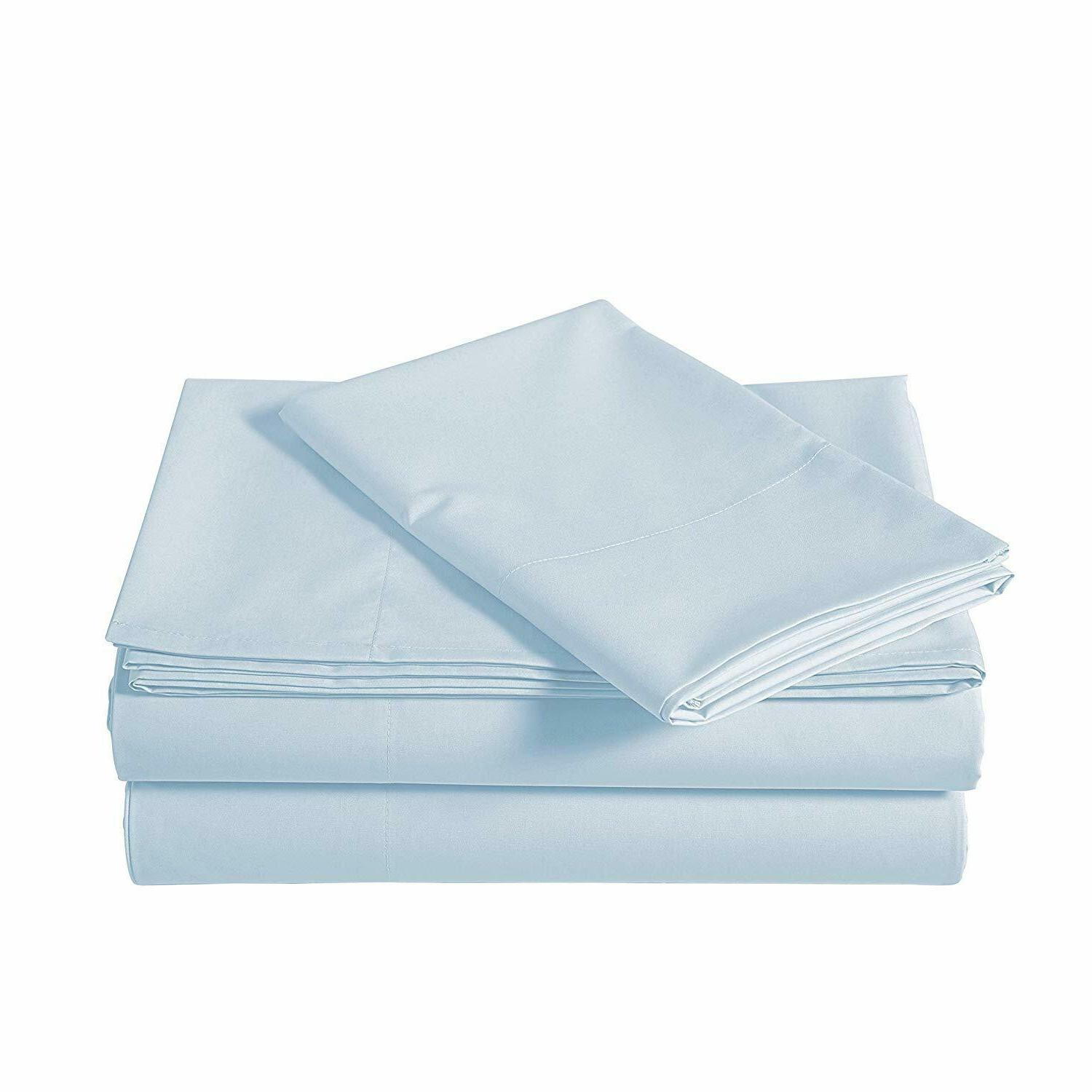 100% Egyptian Cotton Piece Bed 600 Thread Blue solid