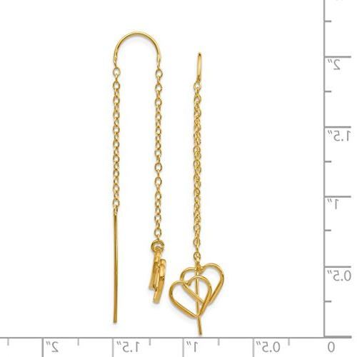 14k Heart Tassel Threader Earrings Drop Fine For Gift