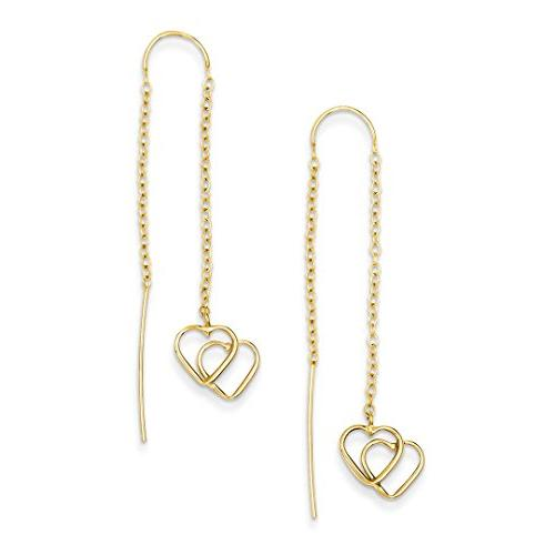 14k yellow gold double heart tassel string