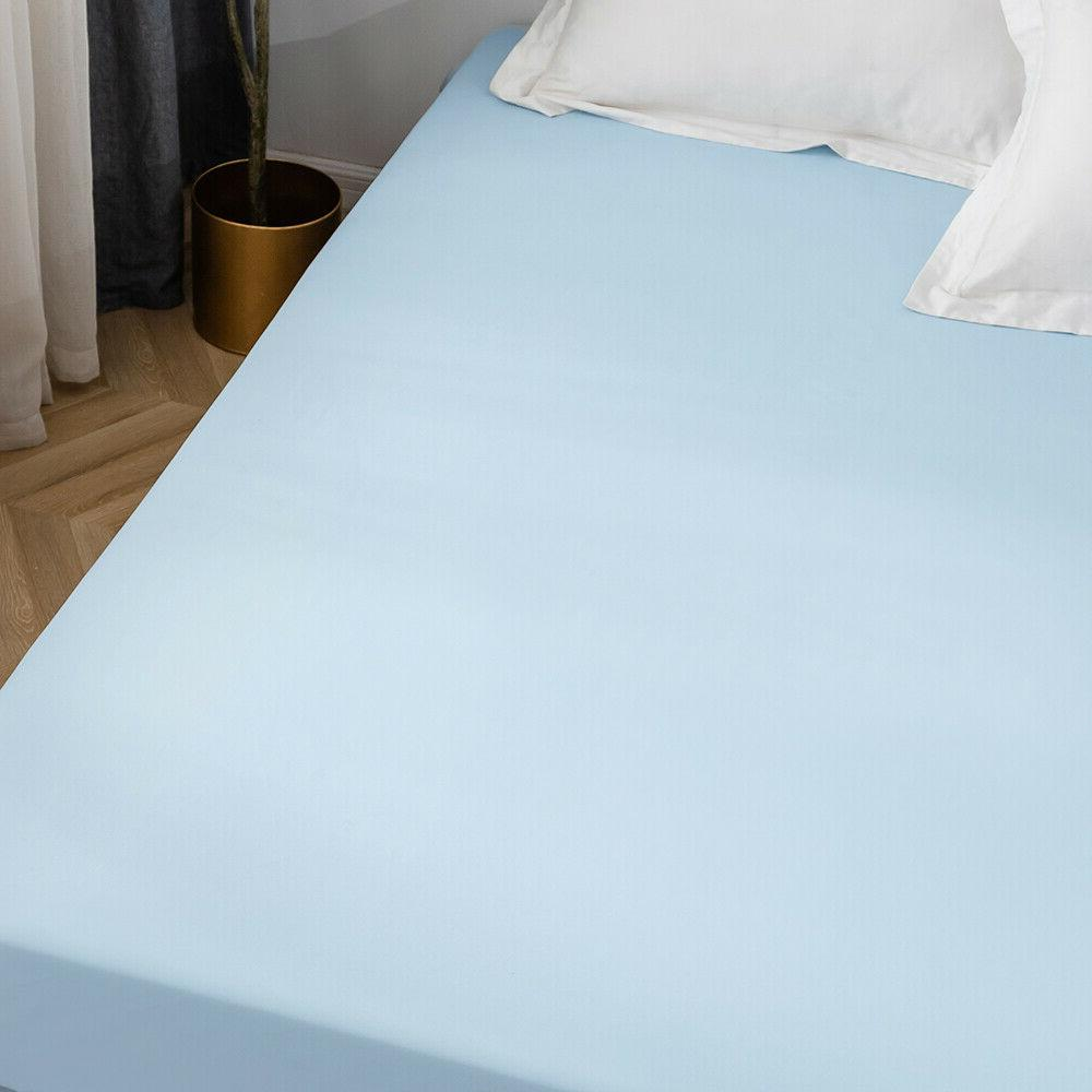 16'' Fitted Bottom Sheet Queen Size Polyester Blue