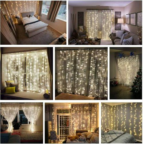 300 Window Curtain String Light Wedding Home 10ft