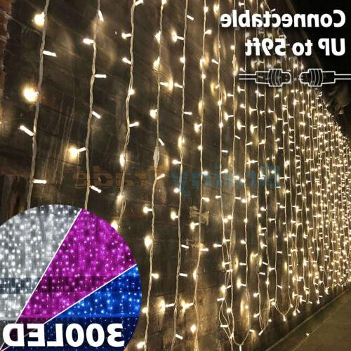 300 LED Window Curtain String Light Wedding Party Home Bedro