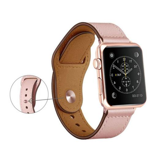 40/44mm Genuine Leather Band Strap Apple iWatch 5 3 2