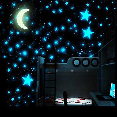 50pcs Stars Moon Glow In Dark Luminous 3D DIY Wall Sticker H