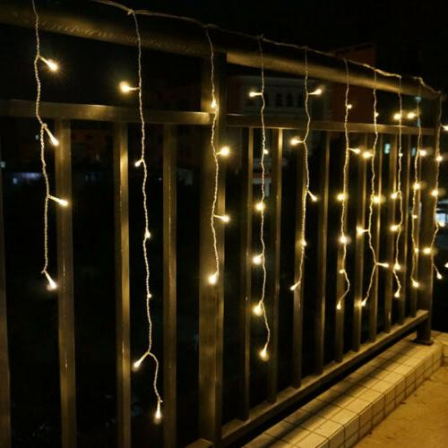 96-960 LEDS Xmas String Outdoor Eaves Hanging Icicle Snowing Curtain