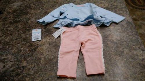 Baby Cat & Jack Girls 2 Piece Outfit Light Blue/ Pink NWT  Y