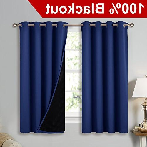 NICETOWN 100% Blackout Curtain Panels, Thermal Insulated Black
