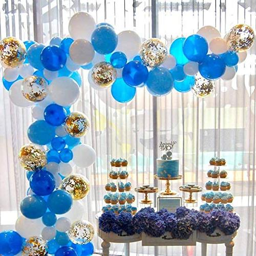 Partywoo Blue Gold And White Balloons 70 Pcs
