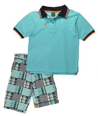 boys light blue polo 2pc short set