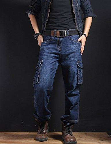 Yeokou Men's Casual Hip Pants Jeans with Cargo Pockets