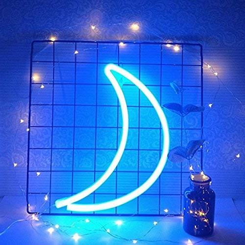 Cute Blue Neon Moon Sign Light,Marquee Signs/Wall Decor for Christmas,Birthday Party,Kids Room, Room, Wedding Party Decor