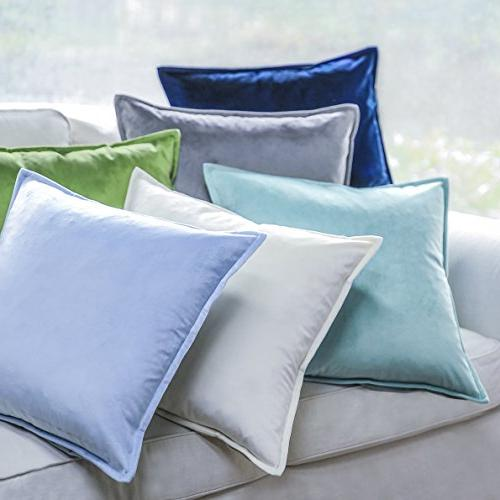 PHANTOSCOPE Throw Pillowcsae Soft Square Throw Pillow Set Cushion Sofa 45 cm Light Blue Set 2