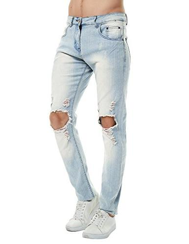 Pishon Men's Distressed Jeans Washed Leg with Jeans, Light Blue, 40