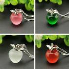 elegant women 925 silver plated apple pendant