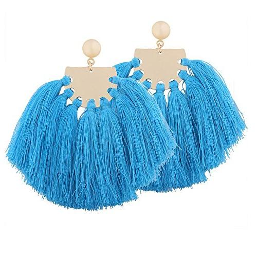 exaggerate big light blue tassel earrings colorful