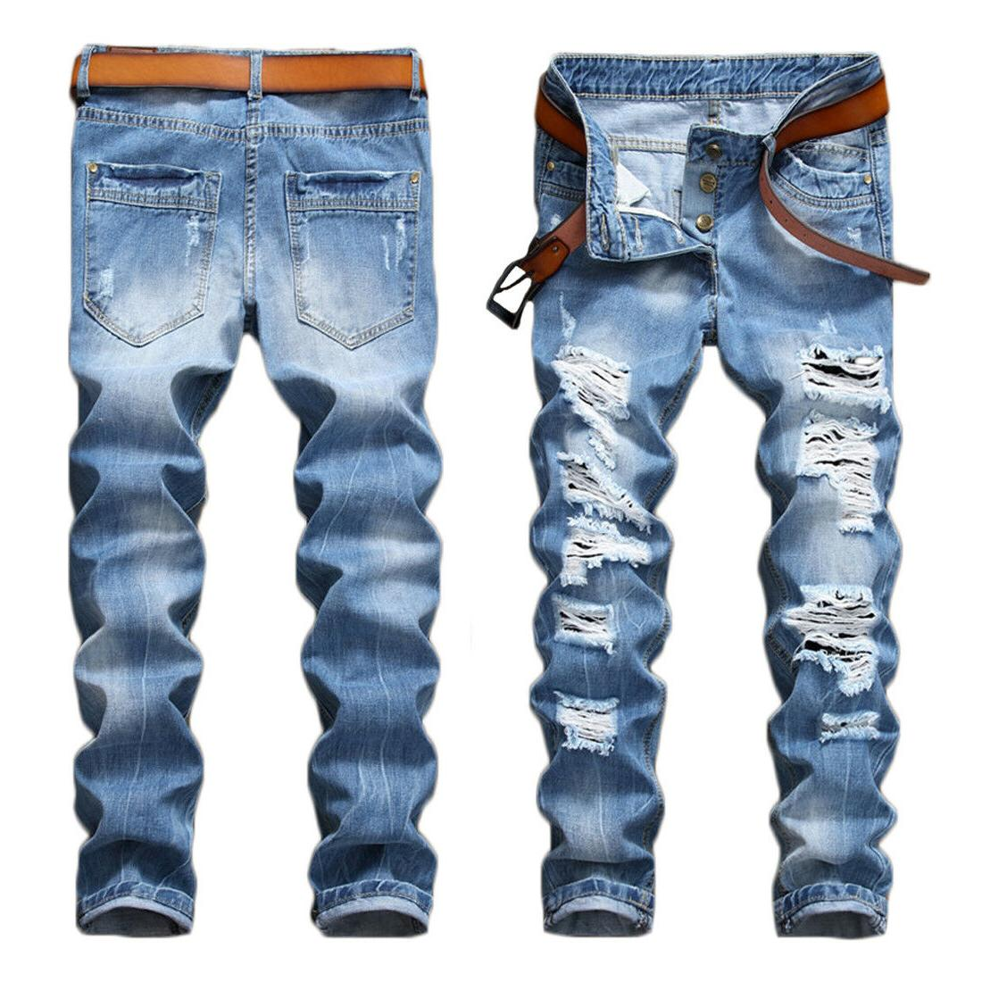 fashion men s light blue ripped destroyed