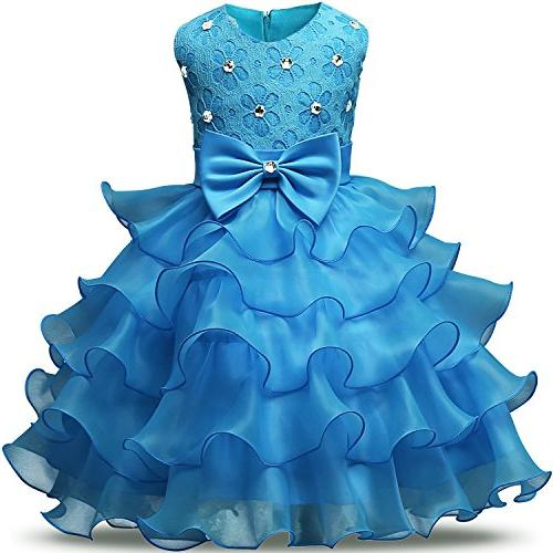 girl dress kids ruffles lace party wedding