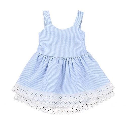 infant baby girls striped bowknot short sleeve