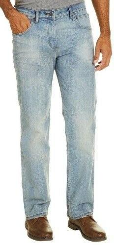 Wrangler Jeans Mens Straight Fit Light Blue Stonewash BLow W