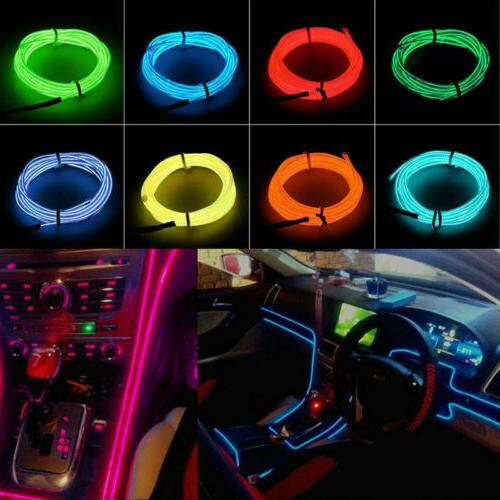 LED Wire Neon Glow String Strip Light Rope Controller Car