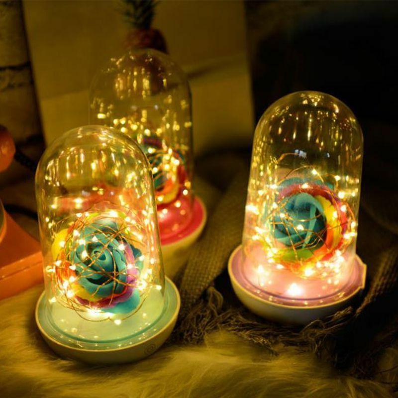 LED Rose Flower Light Bottle String Lights Night Novelty Chr
