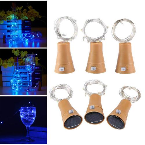 led solar wine bottle light copper cork