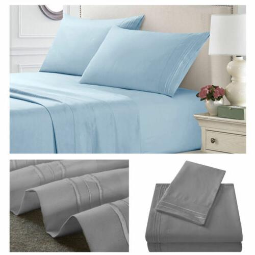 light blue sheet set deep pocket bed