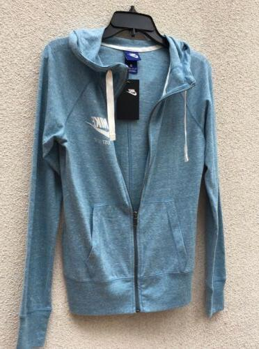 Nike Light Blue Teal Hoodie Zip Up Jacket Cotton Sweater Swo