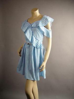 Light Blue Stripe 50s and Flare Bow 260