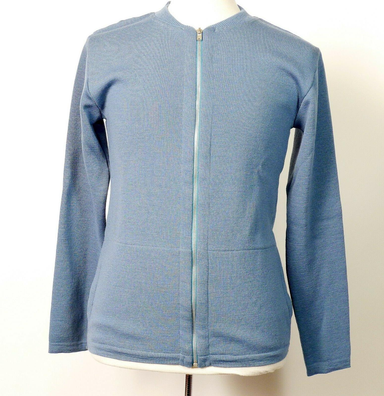 light blue zip front crew neck sweater