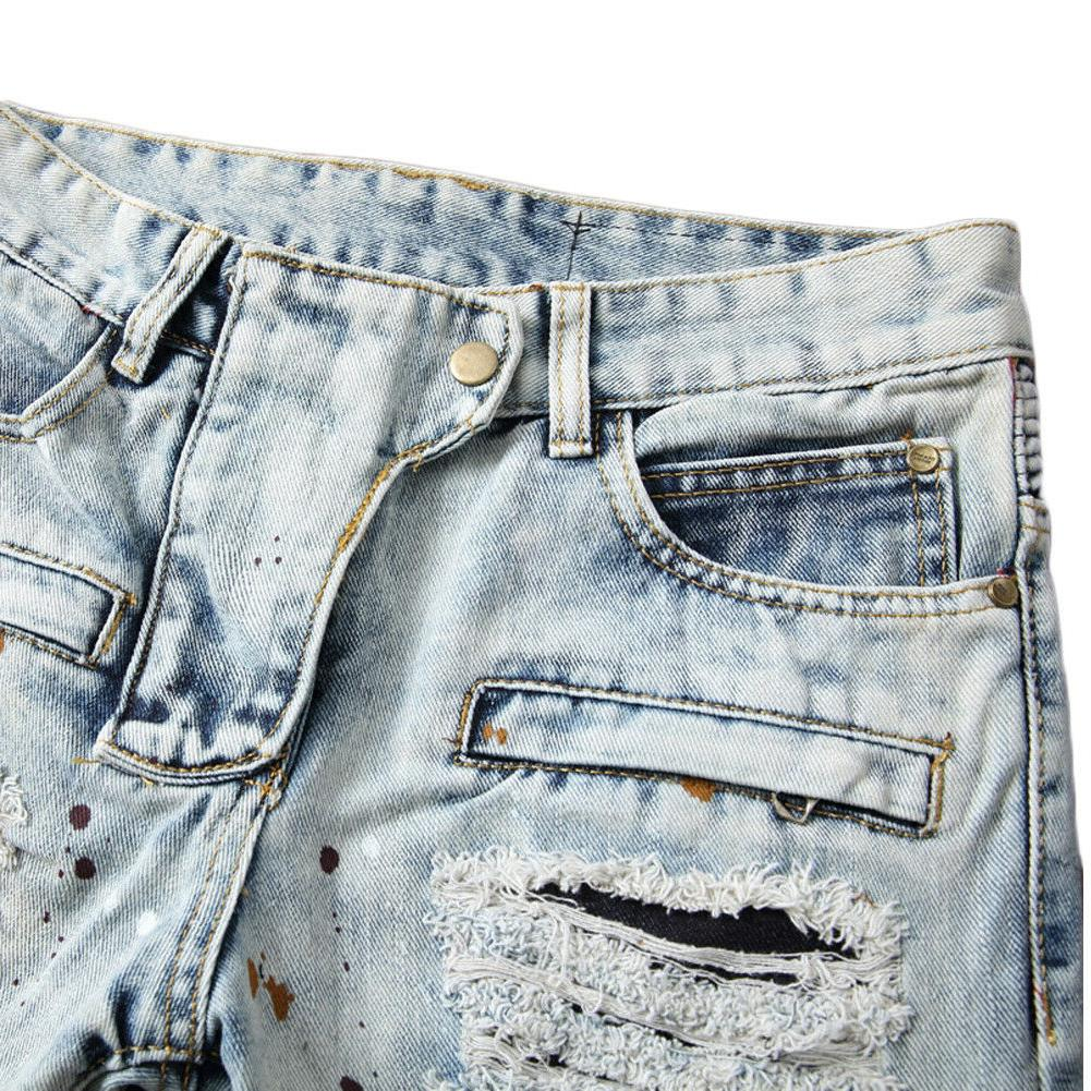 Men Bleached Blue Straight Jeans Distroyed