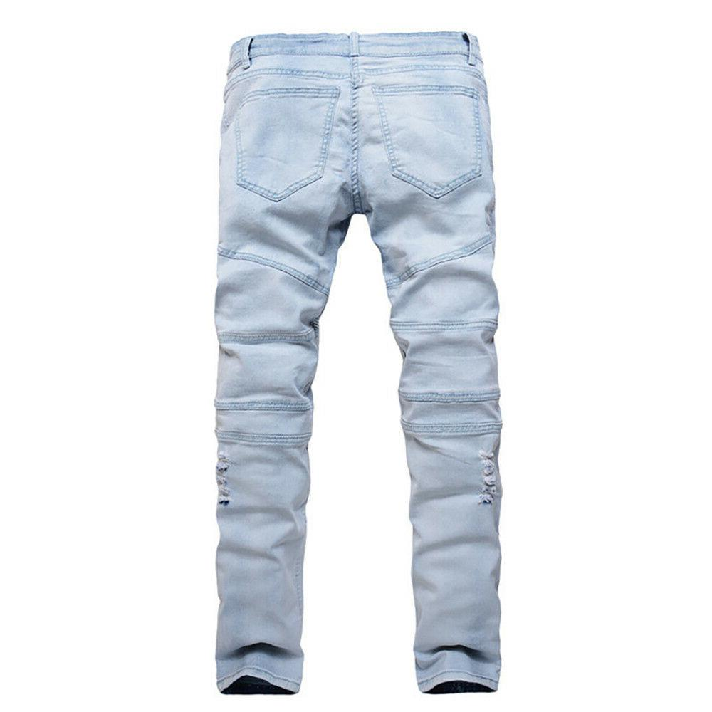 Men Bleached Straight Distroyed Denim