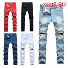 men s denim ripped distressed jeans washed