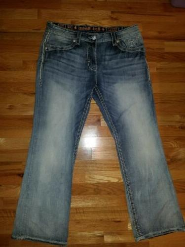 Mens Rock Revival Jeans Size Boot 32 Light