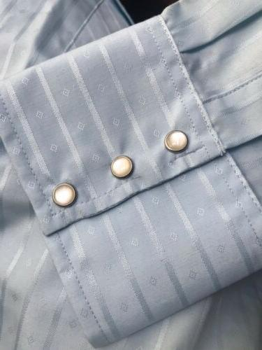 Mens Light Western Pearl LS Button