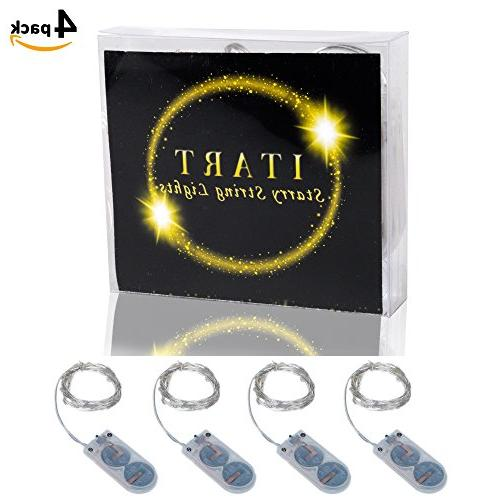 ITART LED Lights Battery Powered of Mini String Light / 6ft Ultra Thin Silver Wire Lights for Parties Bedroom