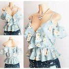 NEW Charlotte Russe Light Blue Floral Wrap Ruffle Cold Shoul