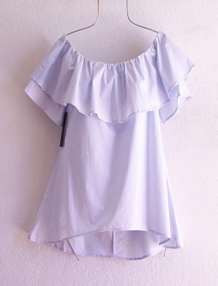 New~Small~Light Blue Peasant Ruffle Top~4/6/2/S