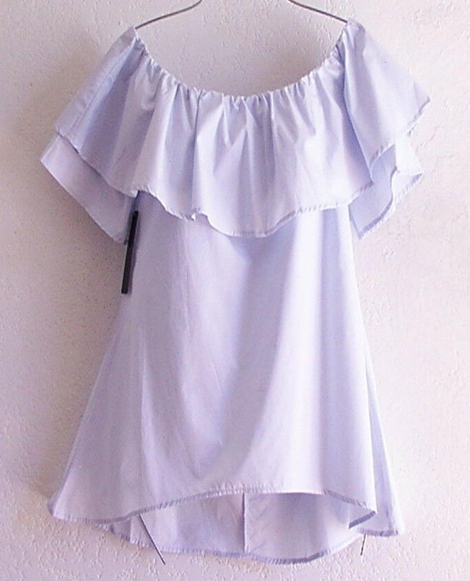 new small light blue peasant blouse ruffle