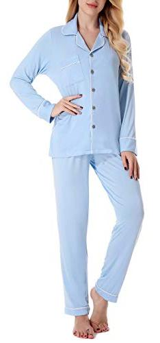 NORA TWIPS Women's Long-Sleeve Boyfriend Pajama Set PJ Light