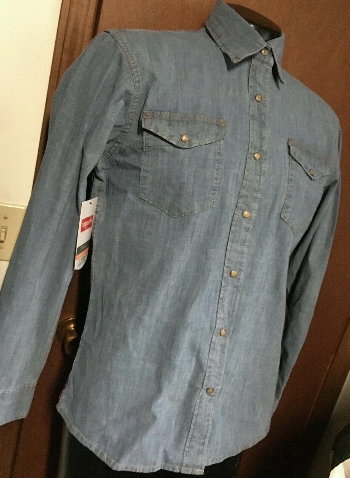 NWT new WRANGLER blue denim SHIRT S L XL 3XL Slim Flex