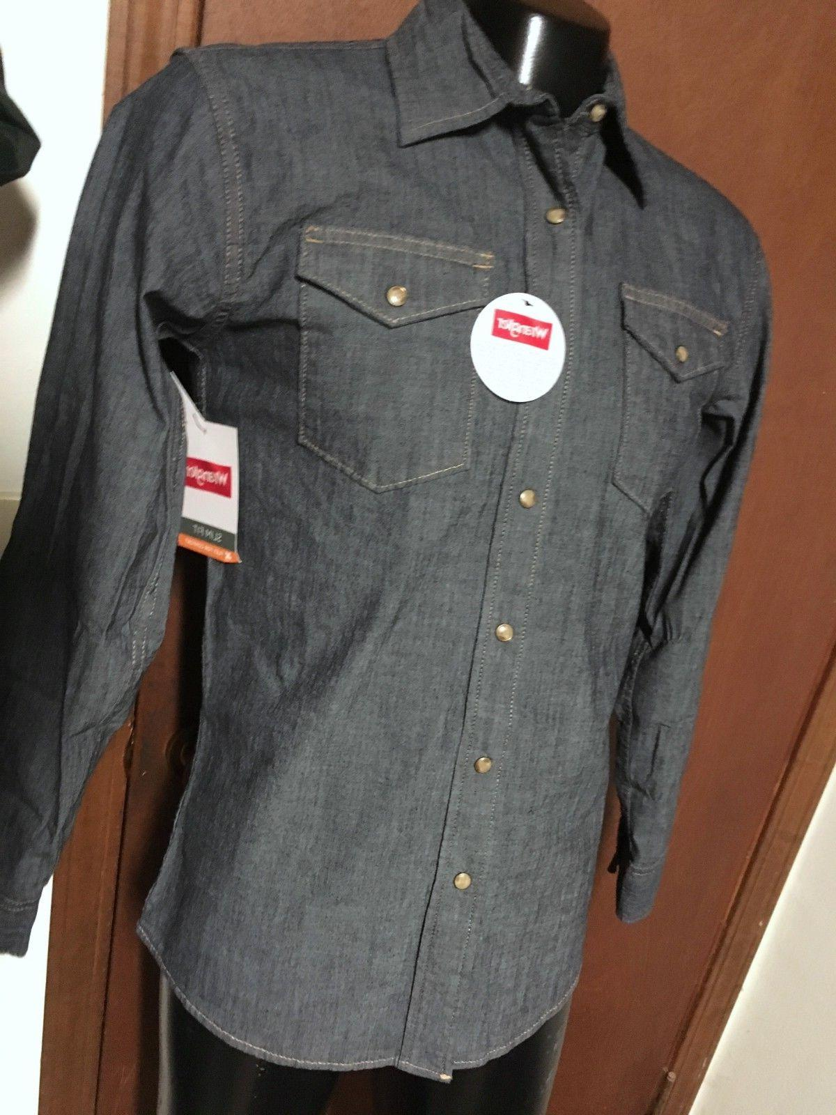 NWT denim Snap SHIRT S L XL Flex