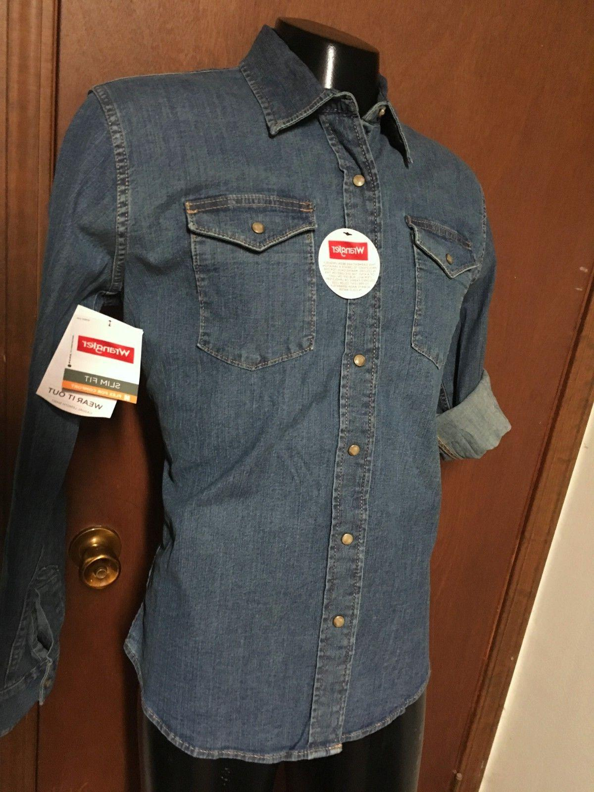 NWT WRANGLER blue denim Pearl SHIRT L XL Flex