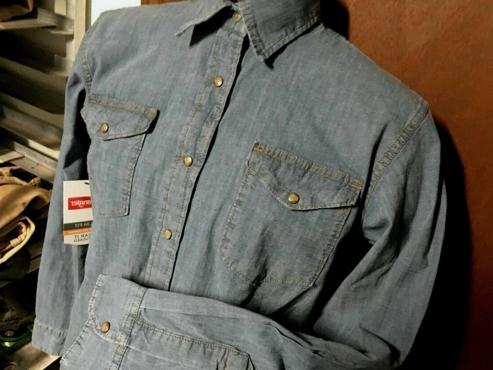 NWT new denim SHIRT mens M L XL Flex