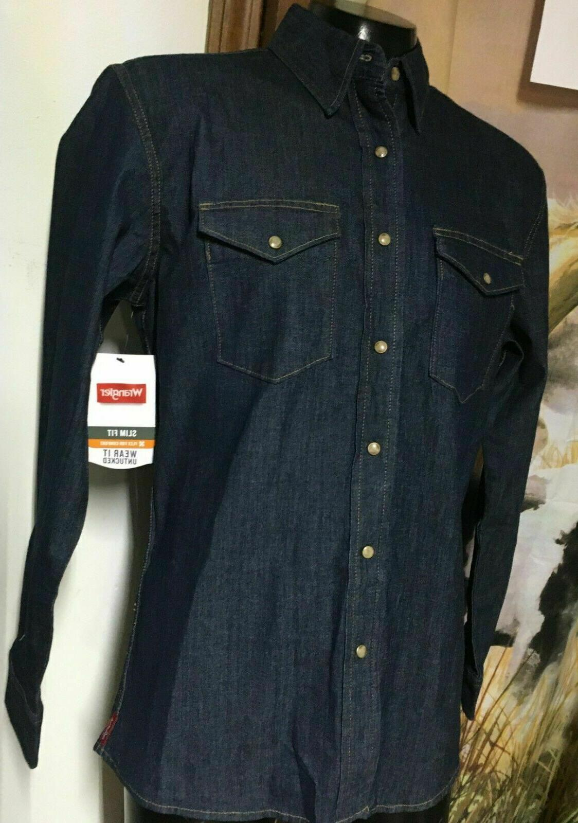 nwt new blue denim pearl snap western
