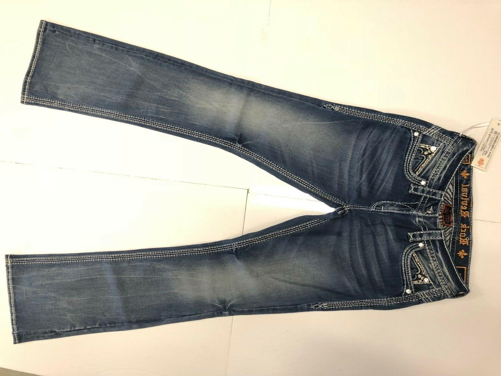 NWT Women JEANS BOOTCUT 225$ BLUE CRYSTALS SIZE 26
